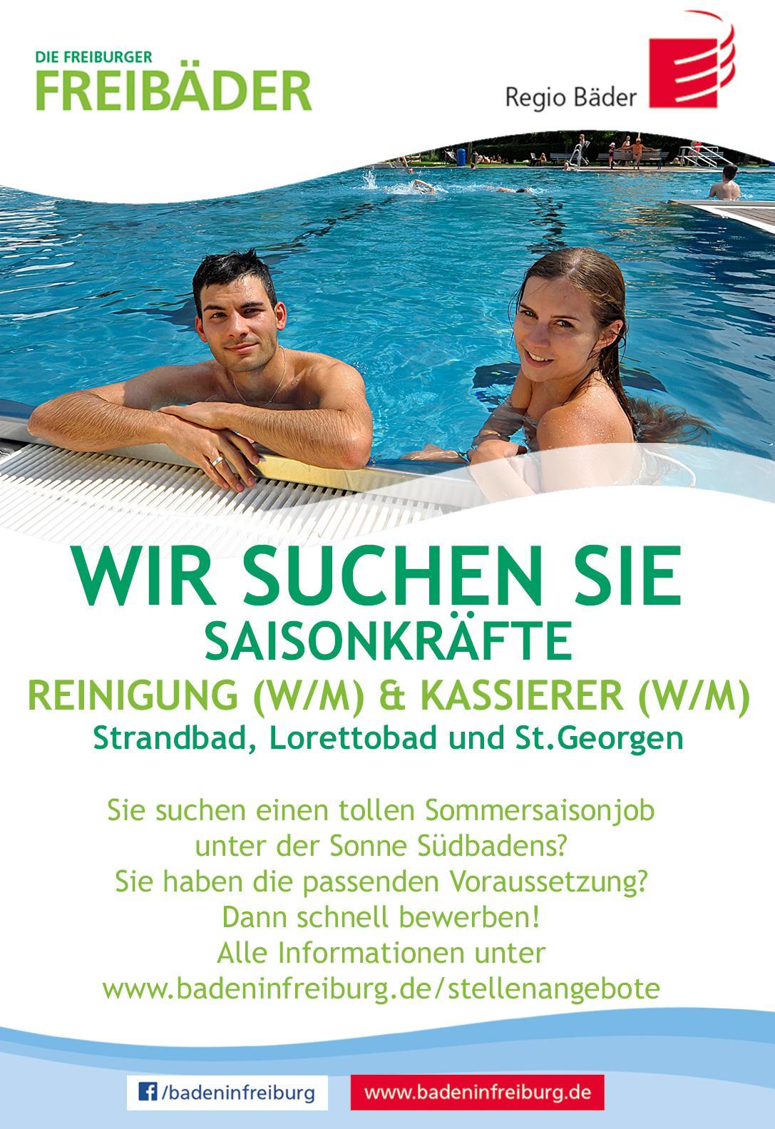 Stellenanzeige Saisonkräfte Freibäder Freiburg
